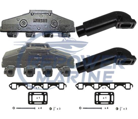 "Exhaust Manifold & 3"" Riser Set Ford 5.0L 302, 5.8L 351 V8 Indmar, Mastercraft"