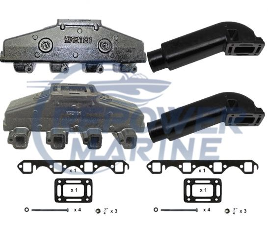 "Exhaust Manifold & 3.5"" Riser Set Ford 5.0L 302, 5.8L 351 V8 Indmar, Mastercraft"